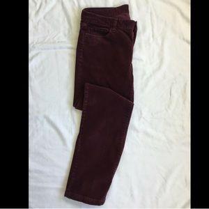 J Crew Burgundy Corduroy Matchstick Pants sz 29S